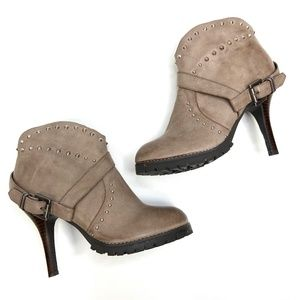 Envy | Genuine Leather Taupe Heeled Bootie